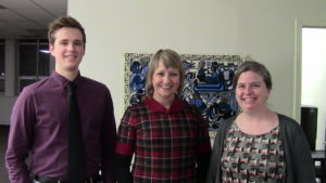 Practicum Student Nicholas Hepner in the offices of Cuso International in Ottawa with Aynsley Morris, Director of Communications and Marketing, and Jennifer Buter, Communications Officer.