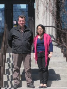 CNHH Member Will Tait and RA Erika Munoz on the steps of Oxfam Canada's head office, 2013.
