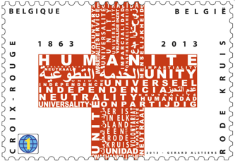 150th anniversary stamp of the Red Cross, Belgian